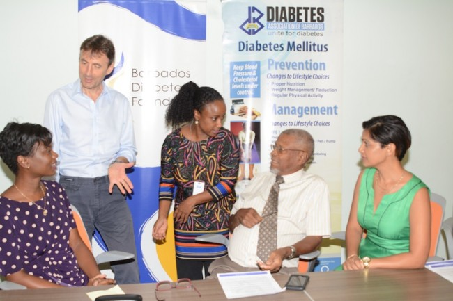 (From left) Project Manager of The Barbados Diabetes Reversal Study Dr Karen Bynoe, Professor Nigel Unwin, Dr Dian Brathwaite, Chairman of the Diabetes Foundation Dr Oscar Jordan and Researcher Dr Madhuvanti Murphy in discussion after the release of the study.