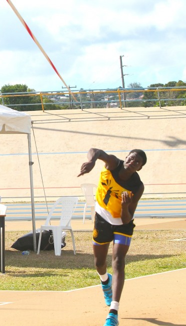 Kalvin Marcus of Christ Church Foundation threw 60.11m to win the under-20 boys javelin.
