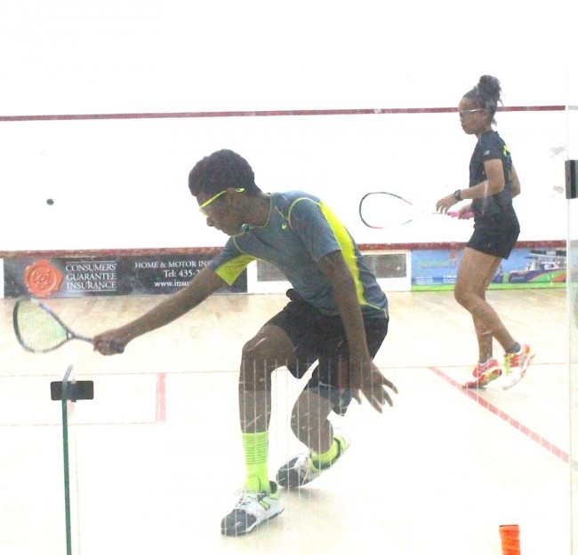Khamal Cumberbatch was all focus during his under-19 third place encounter against Amanda Haywood.