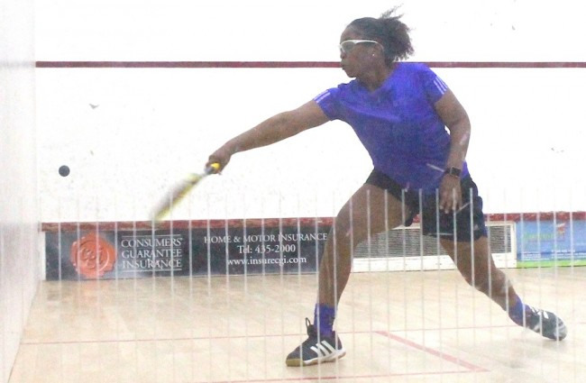 Meagan Best on her way to a great victory against Caribbean junior number one seed and reigning under-17 champion, Amanda Haywood.