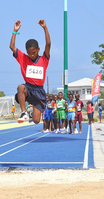 Rhamari Walrond won the U9 long jump and put in the second longest leap on the day with this 3.36m effort.
