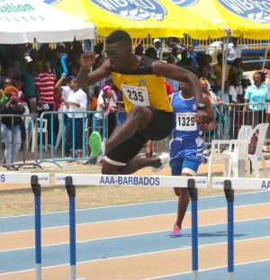 Rivaldo Leacock of Christ Church Foundation stamped his authorty to win the under-20 boys 400m hurdles.