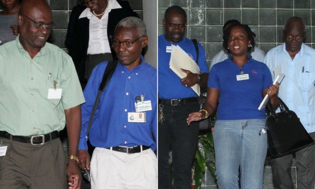 BWA General Manager Dr John Mwansa (right) and other BWA officials exiting tonight's talks andThe Barbados Workers' Union delegation was headed by General Secretary Toni Moore (centre) and also included her predecessor  Sir Roy Trotman (right).