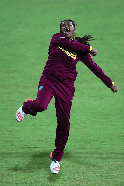 West Indies off-spinner Anisa Mohammed celebrates another wicket.