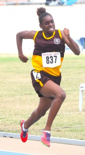 Victrix ludorum Sarah Belle of Princess Margaret was all speed as she slammed  the field to win the under-15 girls 200m.