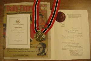 The ORTT medal and other items.