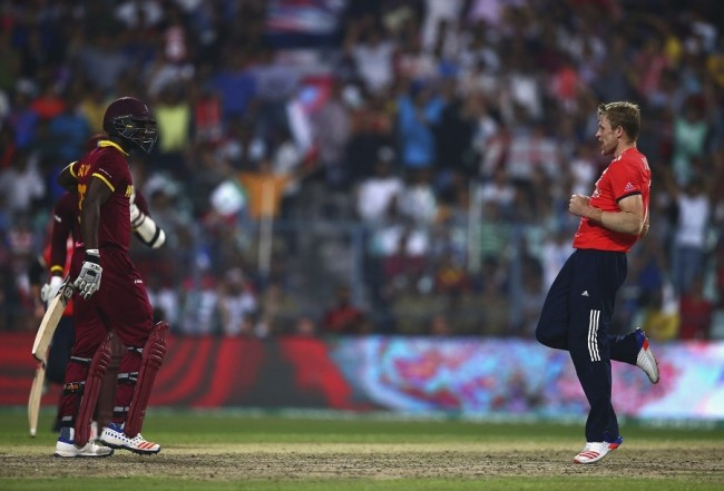 After claiming Darren Sammy's wicket, David Willey's (right) spoof on the 'champion' dance was a tad premature.