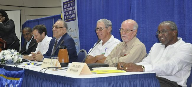 The panel of businessmen included (from left) Richard Haynes, Oliver Gale, Eddy Abed, Ralph Bizzy Williams, David Lashley and James Husbands.