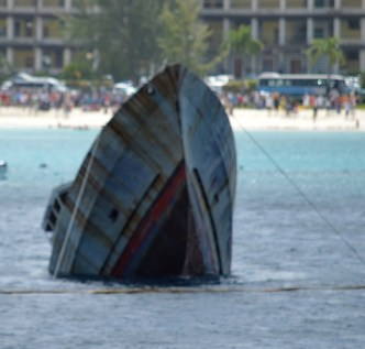 The MV TRIDENT was scuttled yesterday at Carlisle Bay.