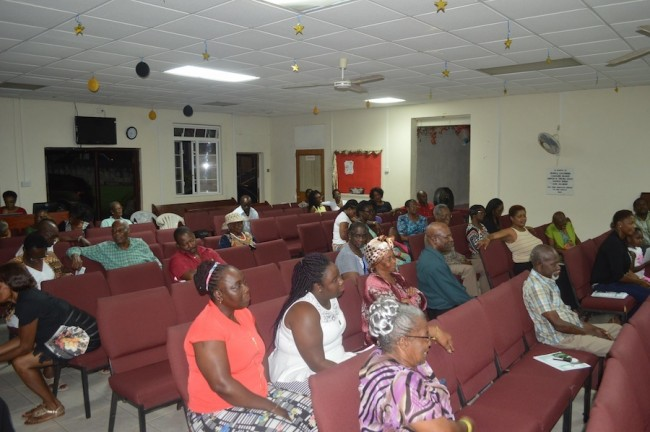 Some of the residents of St James and St Thomas who came out to the town hall meeting.