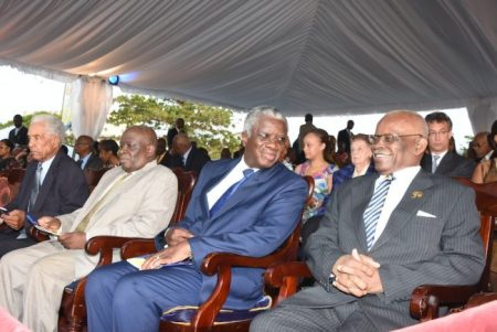 Governor General Sir Elliott Belgrave (at right) had much to smile about as he interacted with Prime Minister Fruendel Stuart (second from right). Sitting beside them are Chief Justice Sir Marston Gibson (second from left) and Barbados' only living Natinal Hero Sir Garfield Sobers.