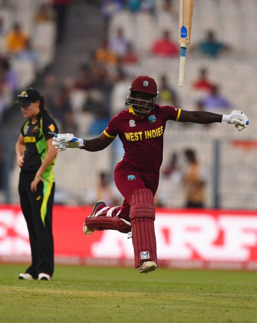 Deandra Dottin heads in one direction and her bat another, as West Indies Women hit the winning runs yesterday.