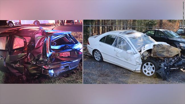 On the left, the Mitsubishi Outlander that was struck. On the right, a Mercedes c230 that caused the crash.