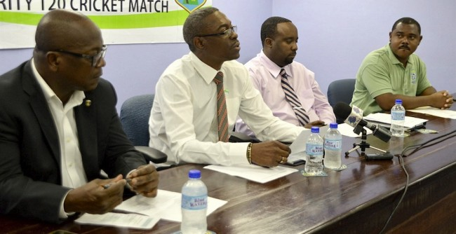 Sagicor General's David Alleyne (second left) at yesterday's briefing, while from left are the BCA's Noel Lynch, Stephen Leslie and Kamal Springer.