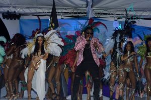 Trinidadian Soca artiste Erphan Alves performing with the models at the end of the launch Friday night at Copacabana.