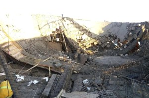 A view of the collapsed structure.