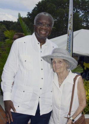 Frank Collymore's widow Elise with Prime Minister Freundel Stuart after the launch.