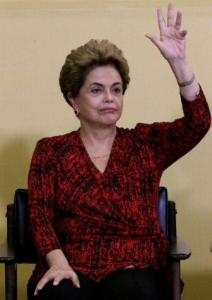 Brazil's President Dilma Rousseff gestures as she attends a signing ceremony for new universities, at Planalto Palace in Brasilia on Monday.