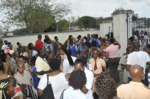 The atmosphere outside the gates of Combermere following today's Barbados Secondary Schools Entrance Examination.