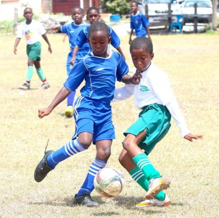 Donte Sealy of George Lamming Primary (l) clashes with Christian Hunte of St Cyprian's Boys.