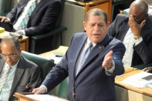 Finance Minister Audley Shaw making his budget presentation in Parliament Thursday.