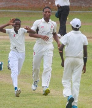 Frederick Smith's captain Giovante DePeiza (centre) bowled well but was unable to stop Combermere from claiming yet another cricket title.