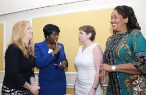 From left, Facebook director Emily Vacher and, deputy commissioner of police Novelette Grant speak with, director of Global Missing Children's Centre of the International Centre for Missing and Exploited Children Caroline Humer, and Betty Ann Blaine, founder of Hear the Children's Cry.