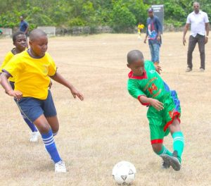 Shamari Payne takes another shot on a day when he netted twice for Hillaby Turner's Hall Primary against St Elizabeth.