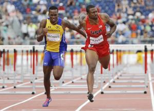 Shane Brathwaite (left) needs a more explosive start in the hurdles if he wants to make an impact.