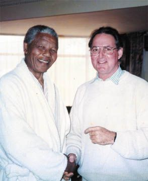 Tony Cozier meeting with South African hero Nelson Mandela.
