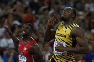 Usain Bolt and Justin Gatlin (left).