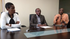 (From left) Chief Medical Officer Rhonda Sealy Thomas, Minister of Health Molwyn Joseph and the Chief Health Inspector Lionel Michael.