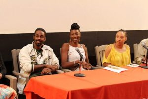 Janelle Mayers (second from left) on a panel discussing the topic Act Like A Lady, Think Like A Man.