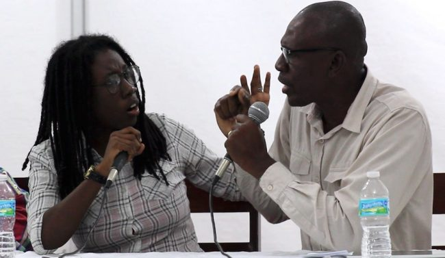 One of the heated exchanges which occurred during the panel discussion between spokesman for the gay community Donnya Piggott (left) and Director of the Pure Sex Centre Ambrose Carter.