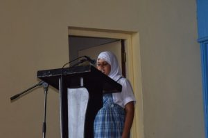 Khadijah Bakharia reciting her poem Reading  Is Awesome.