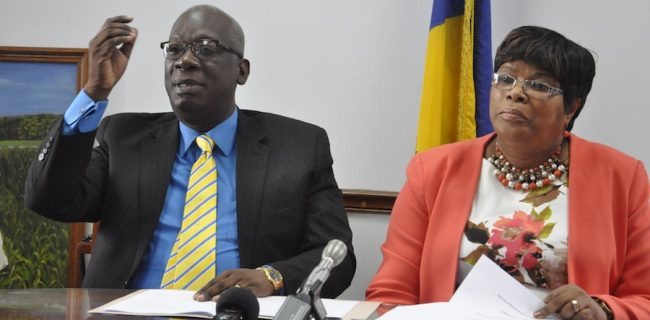 Minister Of Education Ronald Jones who was flanked by Chief Education Officer Karen Best at today's press conference.