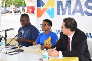 From left, 1688 Stereo Pan Group arranger Dwaine Gill, 1688 Stereo Pan Group manager Keri-ann Weekes and head of information and communications technology at Massy (Barbados) Ltd, Allan Herbert.