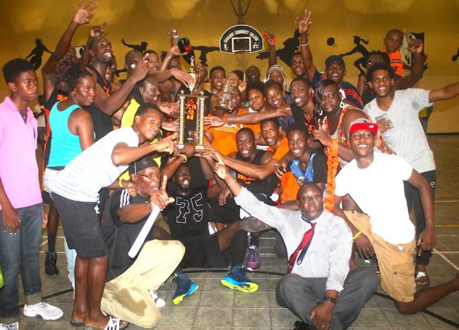 Members of Orange Three Pinelands and their supporters celebrate after capturing the  Premier League title. (Pictures by Morissa Lindsay)