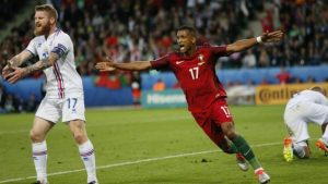 Nani celebrates his goal for Portugal.