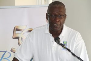 President of the Barbados Cricket Association Joel Garner giving details of some of the cricket activity next month in honour of Sir Garfield Sobers.