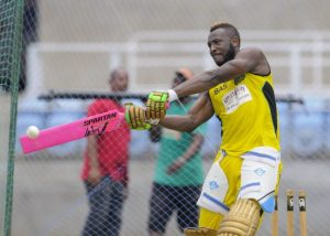 Andre Russell getting in some net practice for the Jamaica Tallawahs.