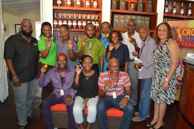 The Pic-O-De-Crop finalists with Marketing Manager at MQI Margaret Hoyte (right) and brand ambassador for Mount Gay Terry Vaughn (left). Standing in for Ian Webster is DJ Alvin Toppin (seated right).