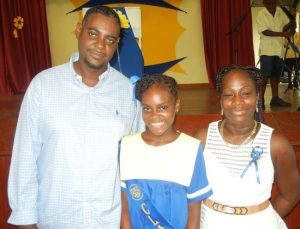 Top Student of A DaCosta Edwards Primary, Danika Fagan with parents Melissa Fagan and Daniel Singh.