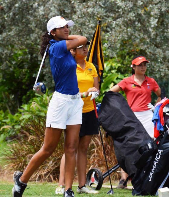 Puerto Rican Valeria Pacheo hits off tee No.3 en route to winning the girls' 16-17 division.