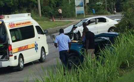 Traffic ground to a halt as a result of the accident on Lancaster Road, St James, near Westmoreland Road.