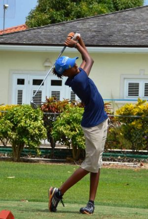 Barbadian Emily Odwin jumped into the lead among the 13 and under girls on Day 2 with a 79.