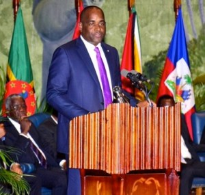 CARICOM Chairman, Dominica's Prime Minister Roosevelt Skerrit addressing yesterday's opening of the Georgetown summit.