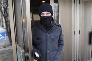 In this February 2, 2016, photo, Aaron Driver leaves the Law Courts in Winnipeg, Manitoba.