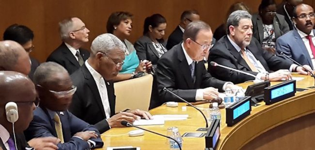 CARICOM Heads of Government in discussion with UN Secretary-General Ban Ki-moon (third from right).