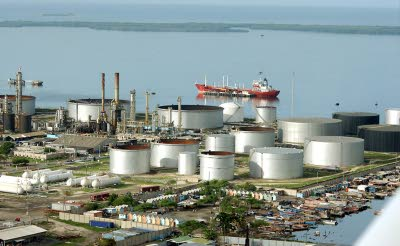 An aerial view of the Petrojam refinery.